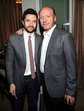 Topher Grace said hello to Paul Haggis at a Hollywood Dominoes event.