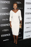 Viola Davis donned a light pink Victoria Beckham dress and statement earrings at the annual Essence Black Women in Hollywood luncheon. We love her bold earrings; see more celebs wearing the trend here.