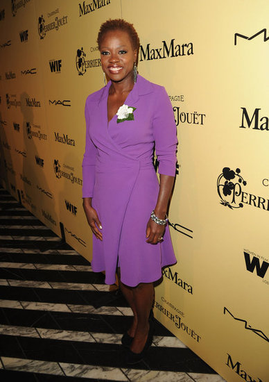 Viola Davis looked pretty in a ladylike purple dress.