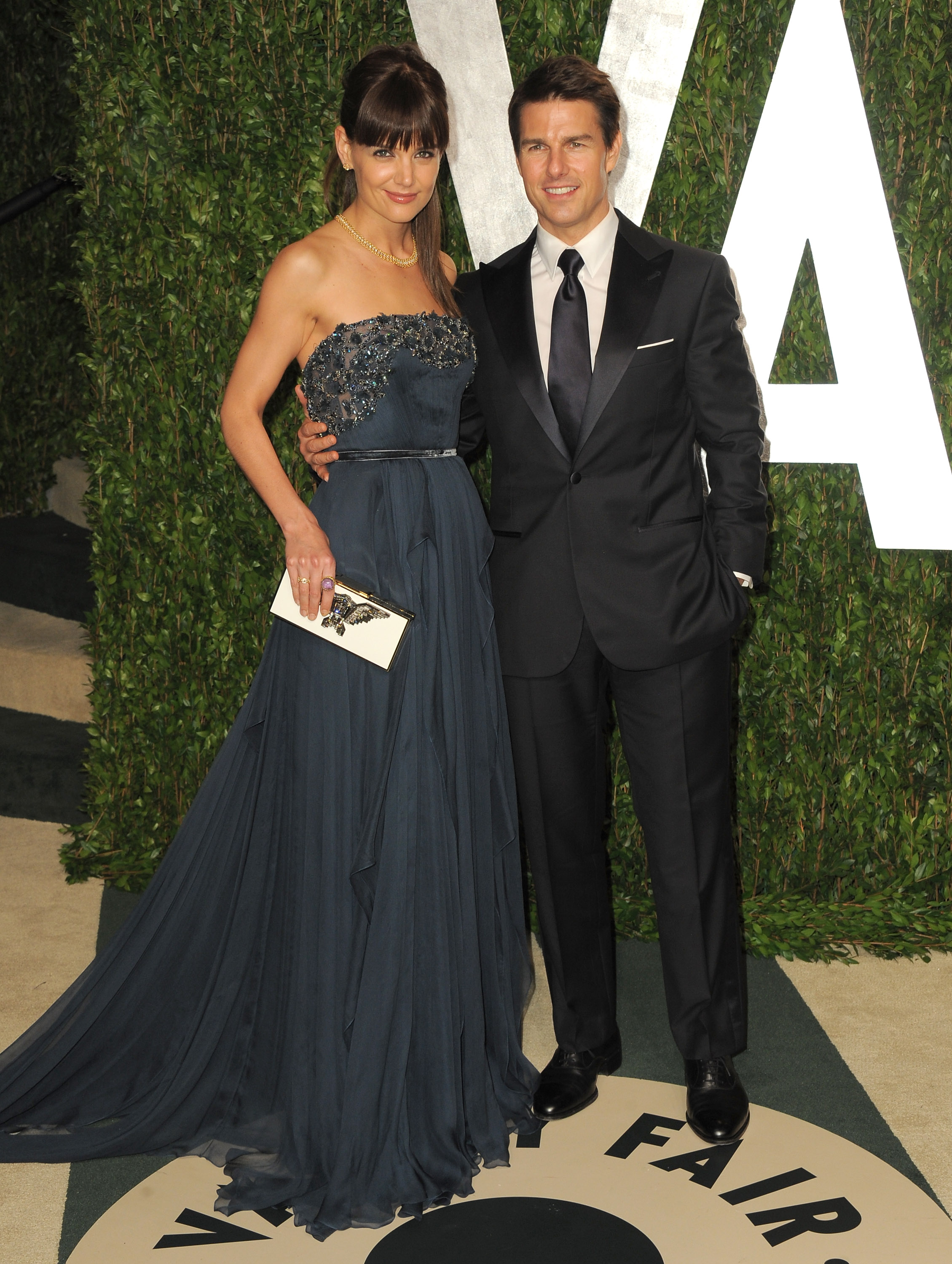 Tom Cruise and Katie Holmes hit the Vanity Fair Oscar party.