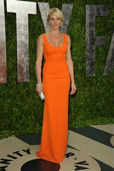 Cameron Diaz changed into a Victoria Beckham gown for the Vanity Fair Oscar party.