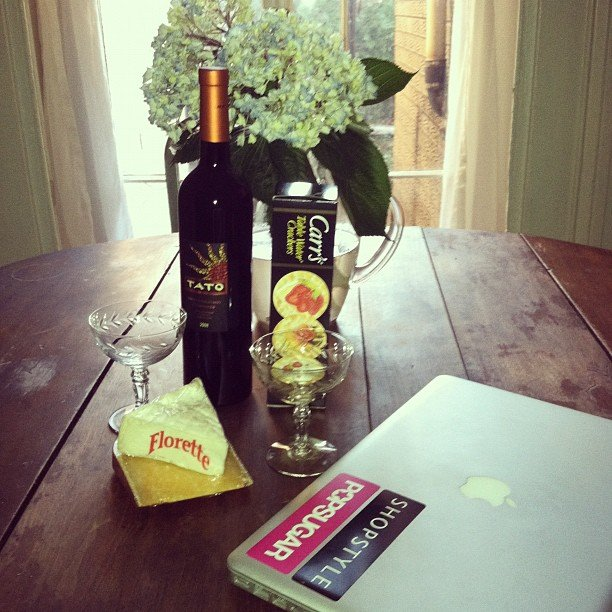 Pop editor Allie celebrated Oscars day in New York with wine, cheese, and crackers.
