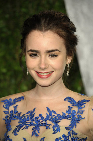 Lily Collins at the Vanity Fair Oscar party.