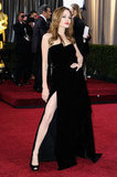 Angelina Jolie worked it and showed leg on the carpet.