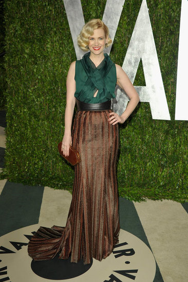 January Jones in a Wes Gordon two-tone halter-style gown.