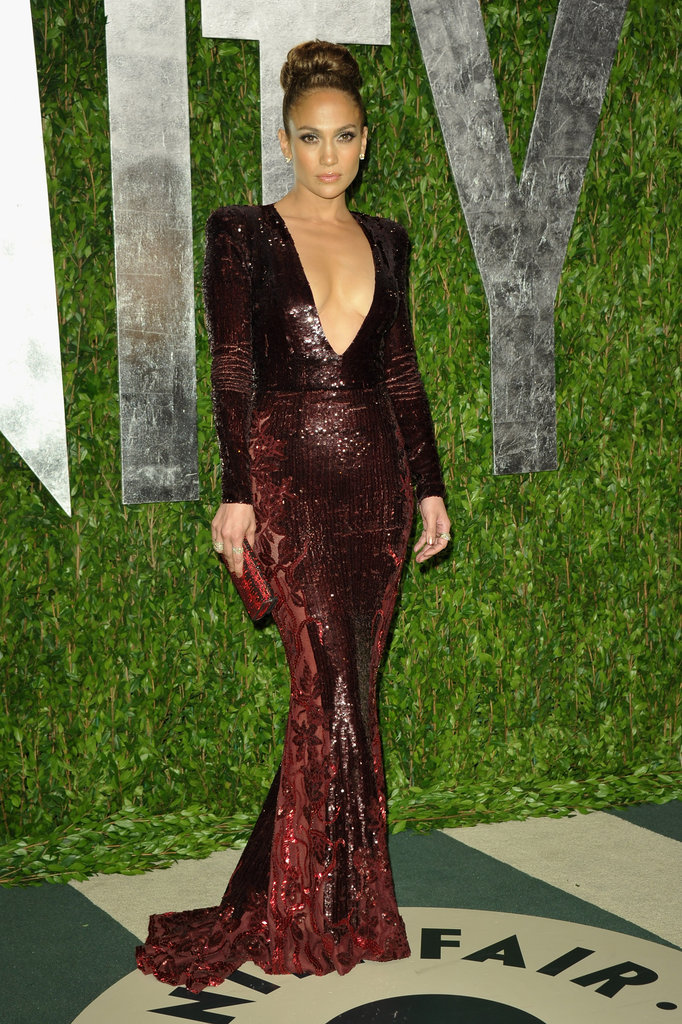 Jennifer Lopez changed into a sexy Zuhair Murad gown for the Vanity Fair Oscar party.