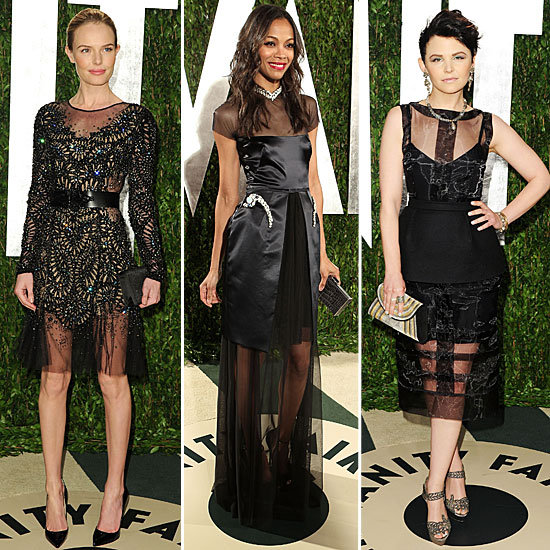 Oscars Red Carpet Trend: Celebrities Wear Sexy Sheer Dresses to the 2012 Vanity Fair Oscars After Party.