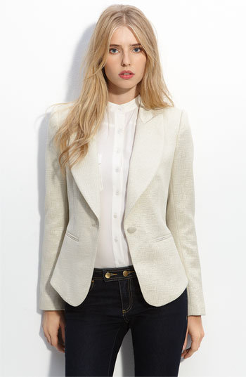 Every Spring wardrobe needs a tailored white blazer; why not add a little shine to it too? Rachel Zoe Jean Metallic Jacquard Jacket ($255)
