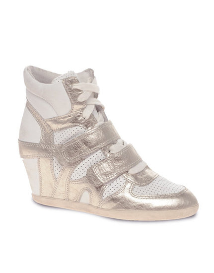 For a footy flair, rock the season's latest sneaker craze — the wedge — in a shiny texture. Ash Bea Colorblock Metallic Wedge Sneakers ($303)