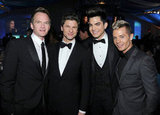 Neil Patrick Harris, David Burtka, Adam Lambert, and Sauli Koskinen