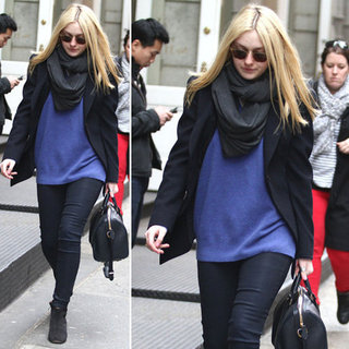 Dakota Fanning Blue Sweater