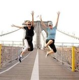 Heidi Klum and Brooklyn Decker finished their Brooklyn Bridge run with a jump in 2011.