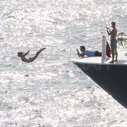 Julianne Hough lept off the side of a yacht in St. Barts in January 2012.