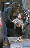 Sarah Jessica Parker helping her daughter, Tabitha Broderick, out of the car.