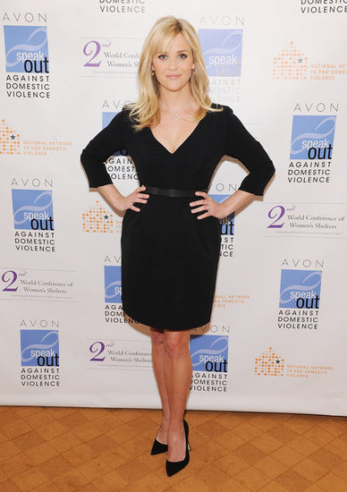 Reese Witherspoon in a black dress.