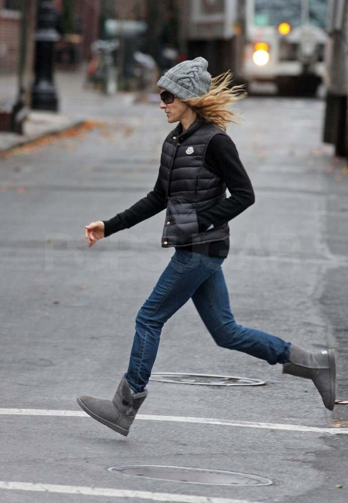 Sarah Jessica Parker had a skip in her step while crossing a NYC street in 2010.