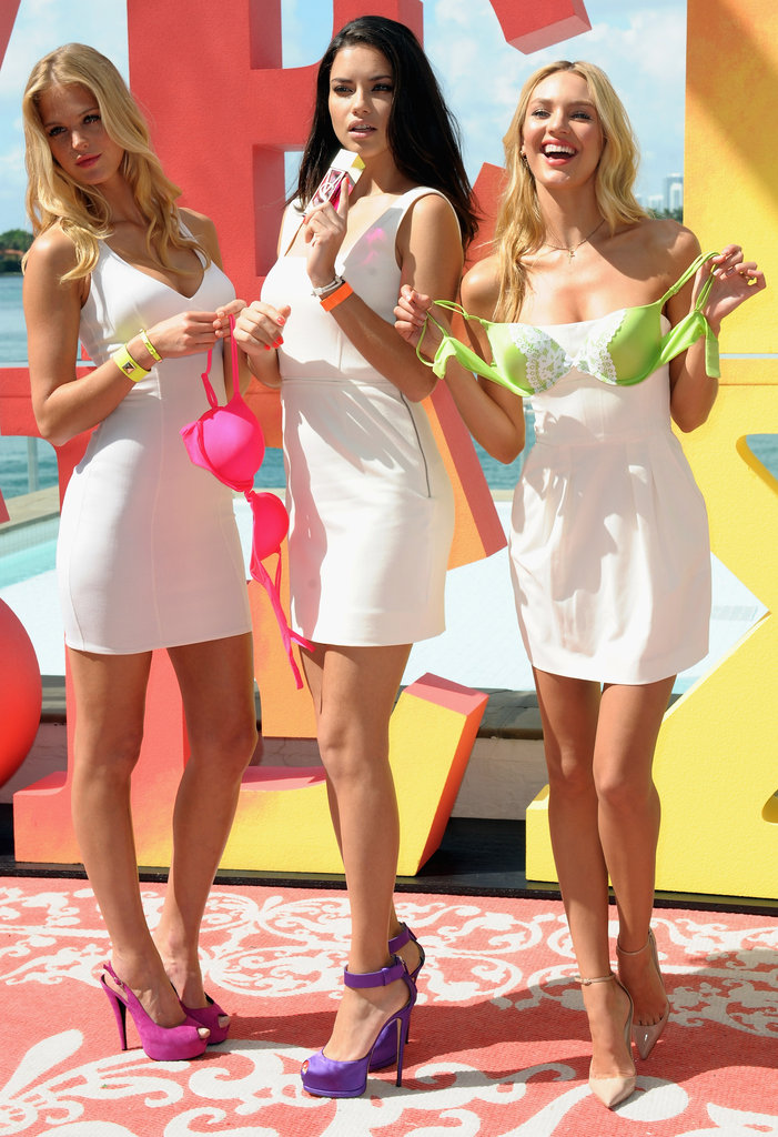 Adriana Lima, Erin Heatherton, and Candice Swanepoel attended a VS photo shoot.