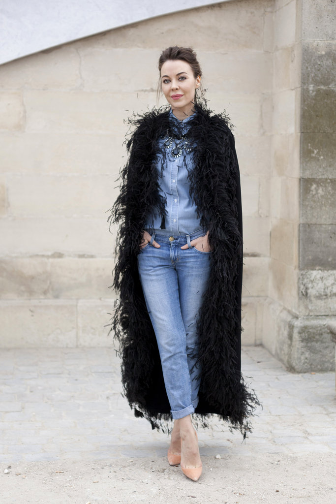 Denim on denim gets a whimsical finish with a furry full coat.