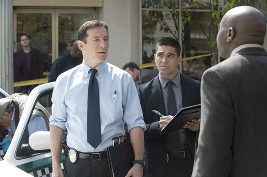 "Jason Isaacs as Michael Britten, Wilmer Valderrama as Detective Efrem Vega, and Steve Harris as Detective Isaiah ""Bird"" Freeman in Awake. Photo courtesy of NBC"