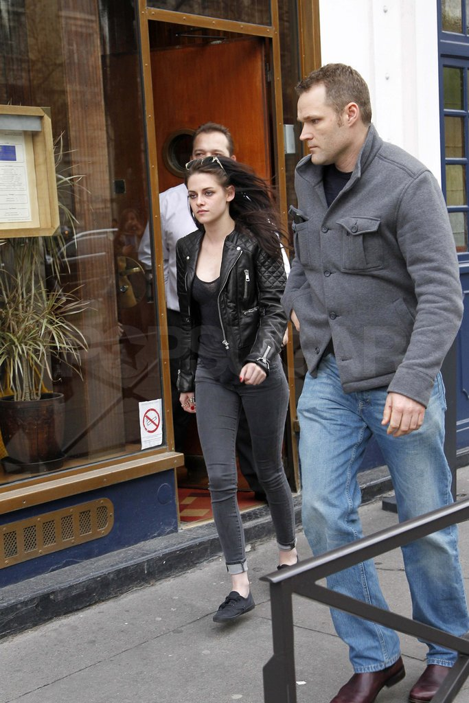 Kristen Stewart in a leather jacket.