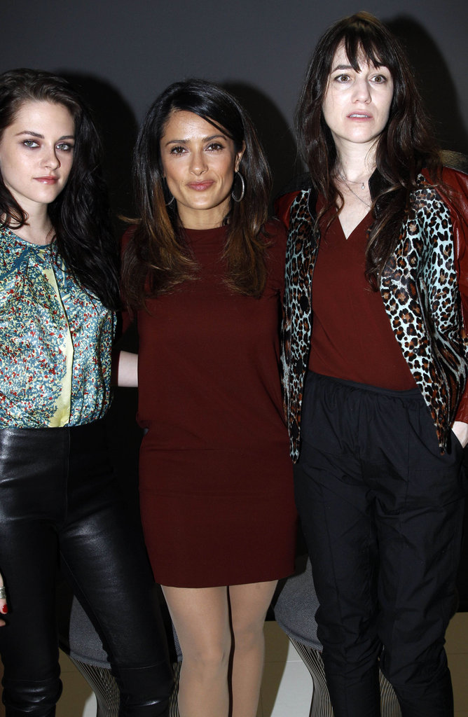 Kristen Stewart, Salma Hayek, and Charlotte Gainsbourg were dressed in designs from Balenciaga.