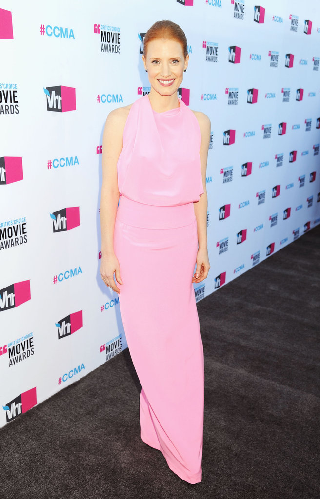 Pretty in pink Balenciaga at the 2012 Critics' Choice Awards.