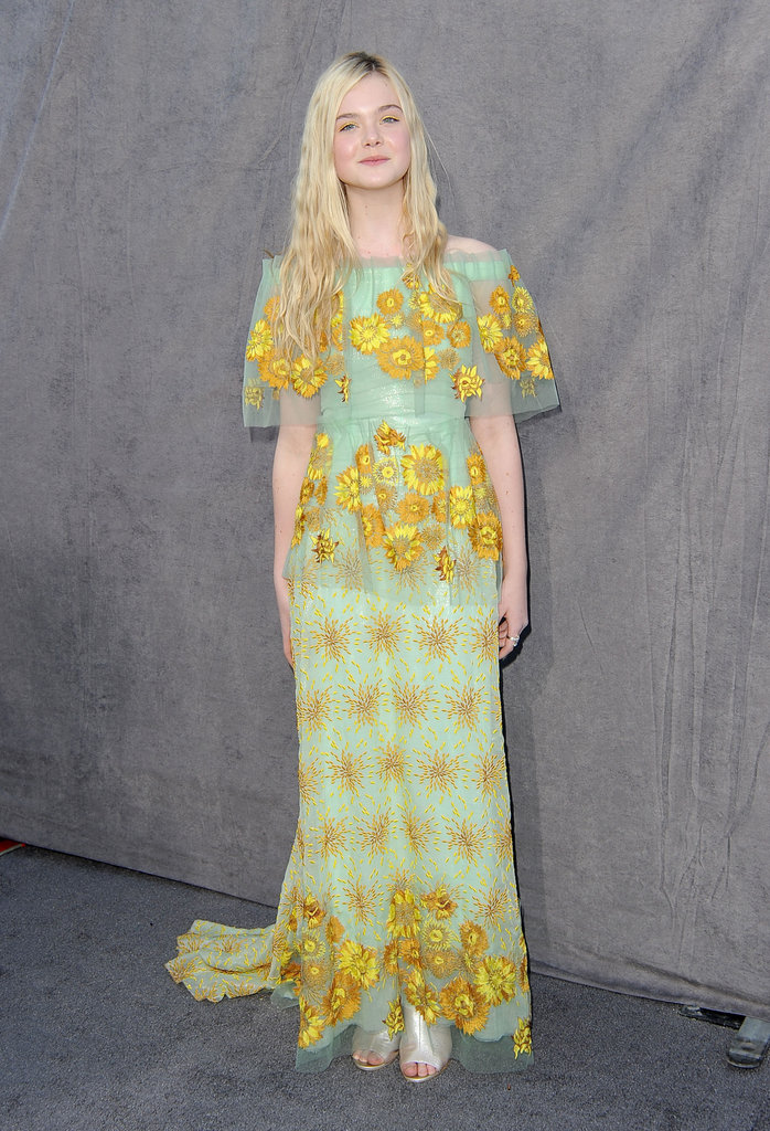 Elle Fanning paired her metallic heels with a pretty floral-applique Rodarte at the Critics' Choice Awards.