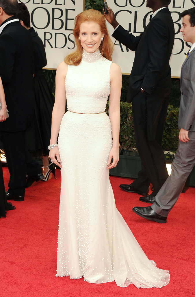 Sophisticated in creamy white Balenciaga Couture at the 2012 Golden Globes.
