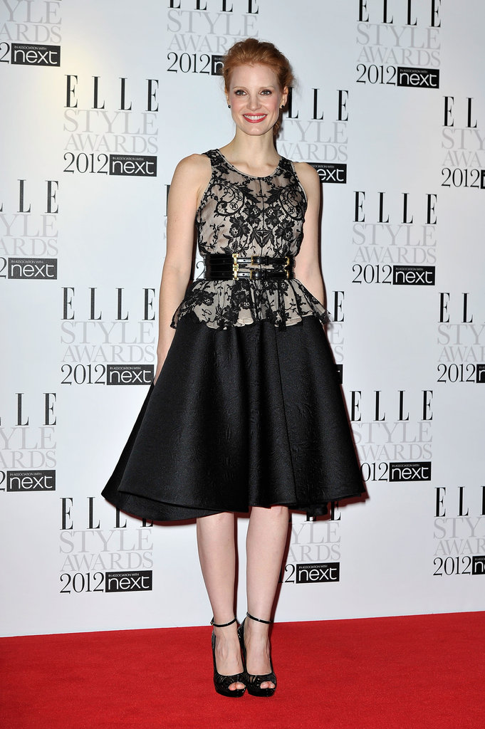 An ornately ladylike McQueen at the 2012 Elle Style Awards.
