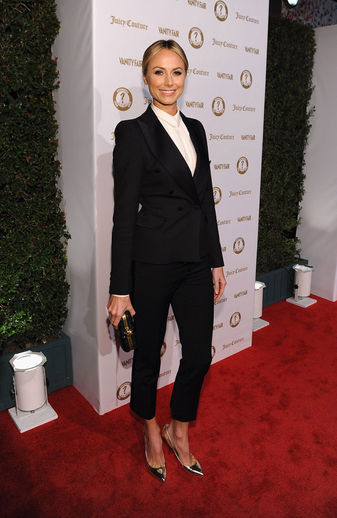 Stacy Keibler finished her slick Zara suit with a pair of slick silver pumps.