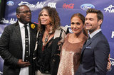 Jennifer Lopez, Randy Jackson, Ryan Seacrest, and Steven Tyler posed.