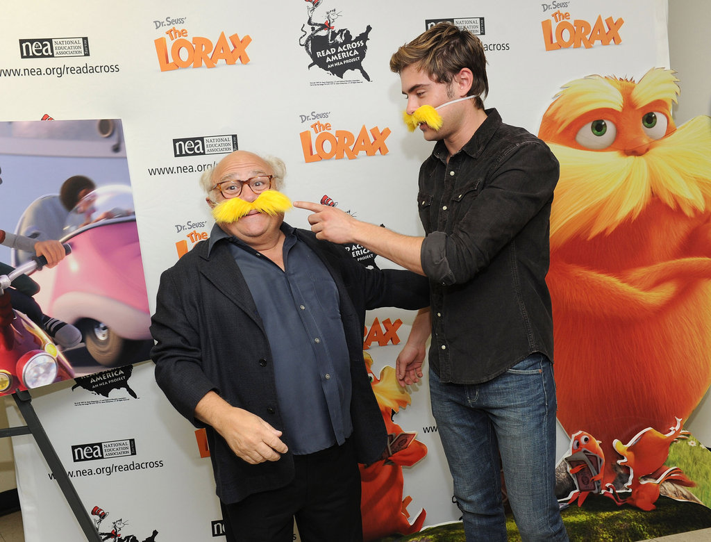 Zac Efron helped Danny DeVito with his mustache.
