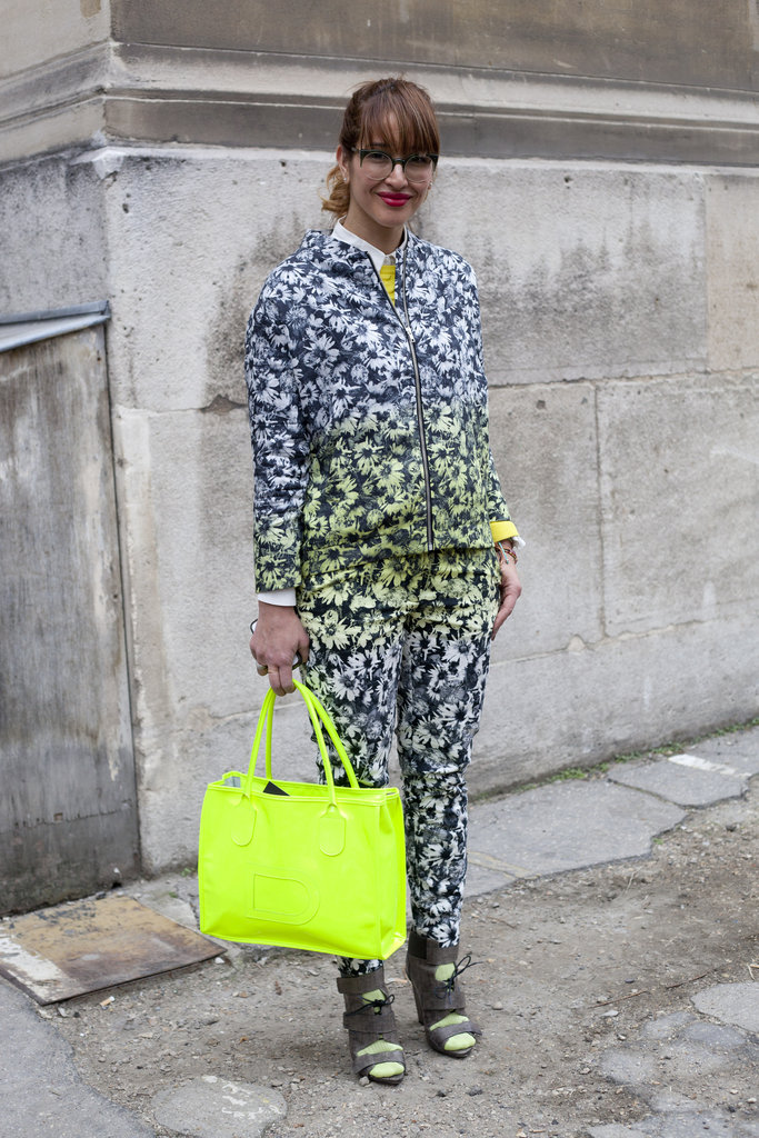To further accentuate a printed-up look, add a pop of neon color.