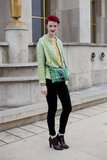 We love this bright green brocade blazer.