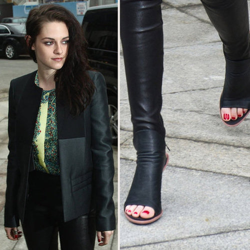 Kristen Stewart Wears Red Nail Polish to Balenciaga Fashion Show in Paris