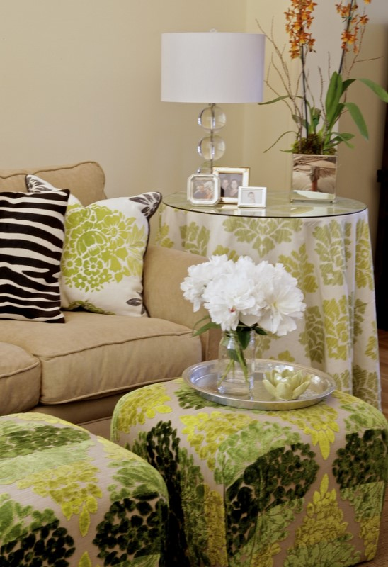 updating a tired/old couch with chartreuse prints and zebra hide.