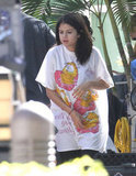 Selena Gomez was dressed in pajamas on the Spring Breakers set.