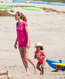 Heidi Klum's daughter Lou Samuel wore a cute hat to the beach.