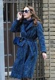 Leighton Meester carries an Oscar de la Renta bag on the set of Gossip Girl in NYC.