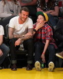David and Brooklyn Beckham at the Lakers game.