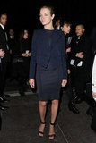 Natalia Vodianova looked sophisticated in all navy separates at Givenchy.