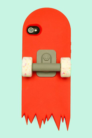 The wheels on the Red Skate Deck ($45) for iPhone 4 double as a stand.