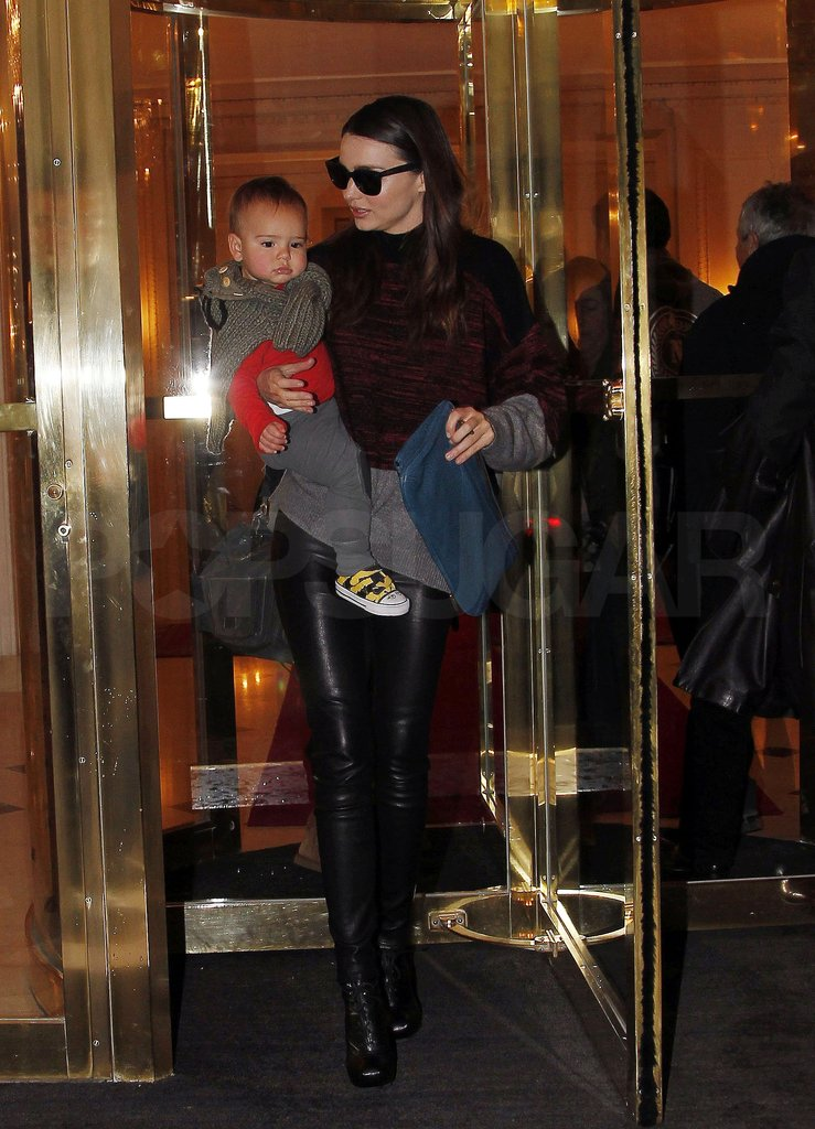 Miranda Kerr and Flynn Bloom left a Paris hotel.