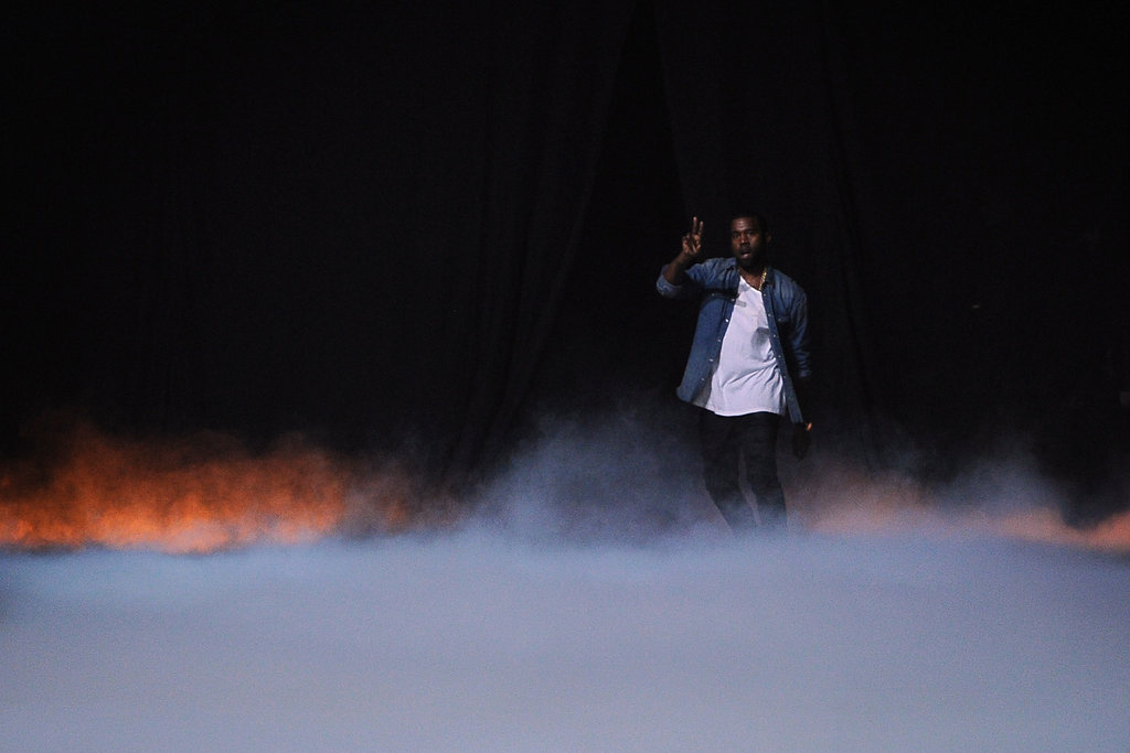 Kanye West waved after his show.