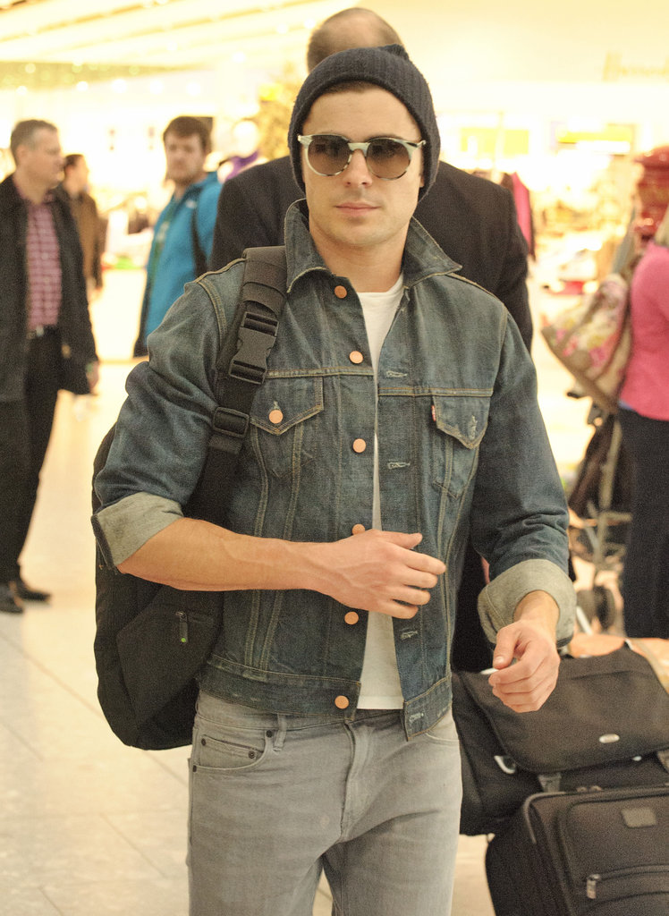 Zac Efron at Heathrow Airport.