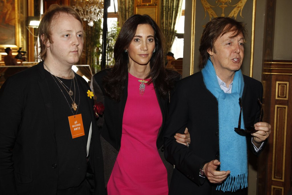 Paul McCartney and Nancy Shevell posed with James McCartney.