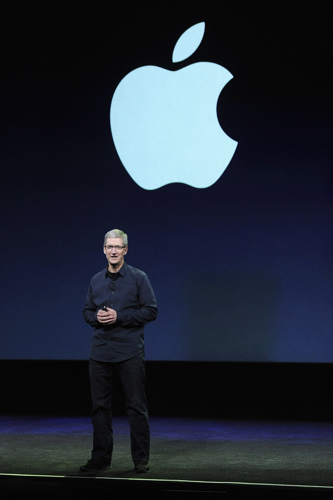 Tim Cook greets the crowd at the Apple event in San Francisco.