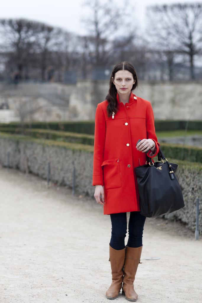 We love the poppy-red hue and the way it contrasts against tan leather boots.
