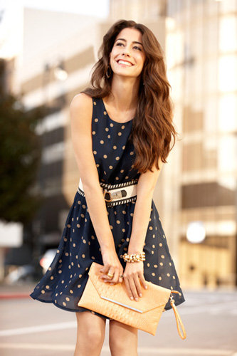 Try a flirty dress in a classic polka-dot print. It's a spring staple! Just add some neutral accessories to finish off the look. Head to T.J.'s and score a stylish print look for less.