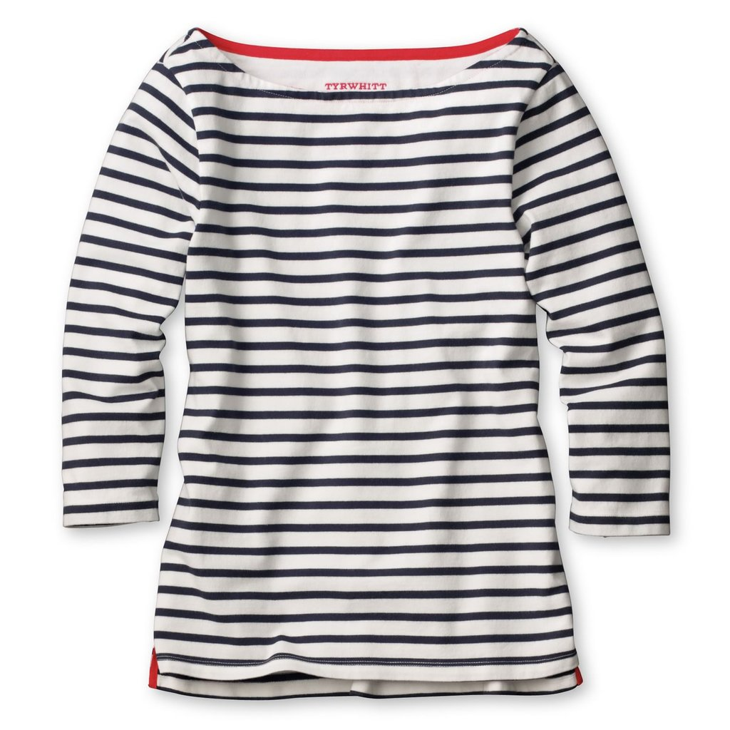 White and Navy Stripe Boating Jersey Top ($59, originally $120)